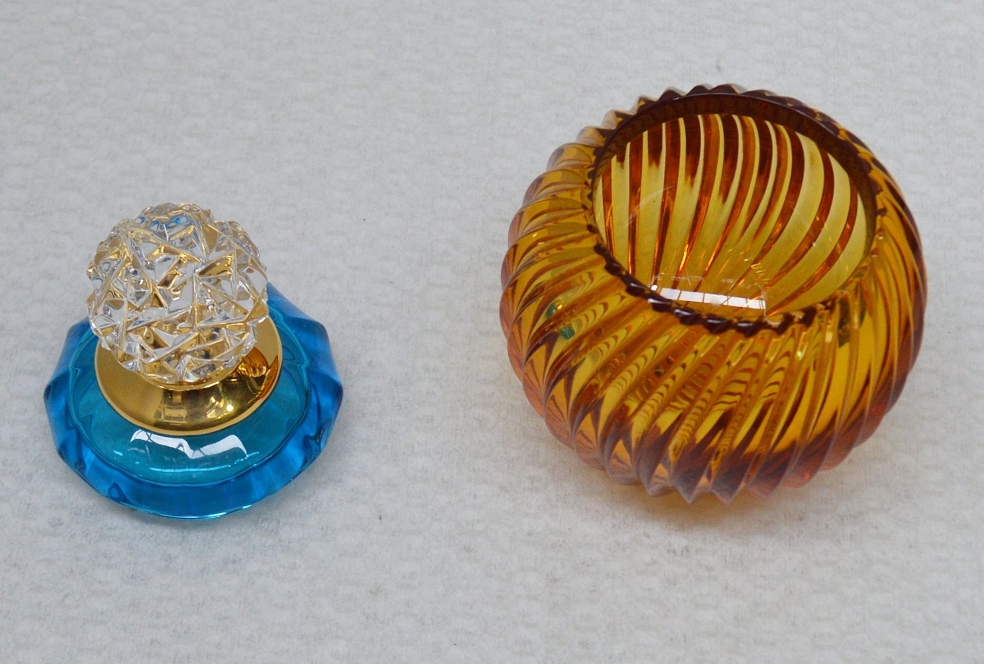 1 x BALDI 'Home Jewels' Italian Hand-crafted Artisan Small Coccinella Jar In Blue And Orange Crystal - Image 3 of 3