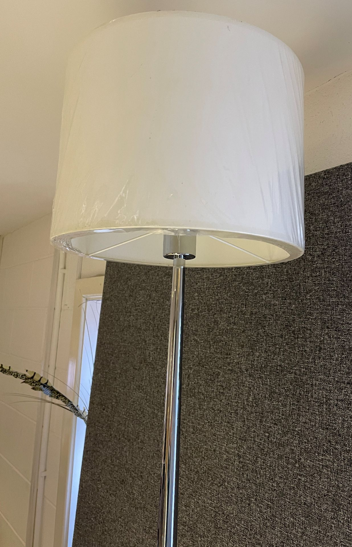 1 x Chelsom Polished Chrome Stem Floor Lamp height 155cm with Cream 31cm round shade - Ref: CHL198 - Image 5 of 10