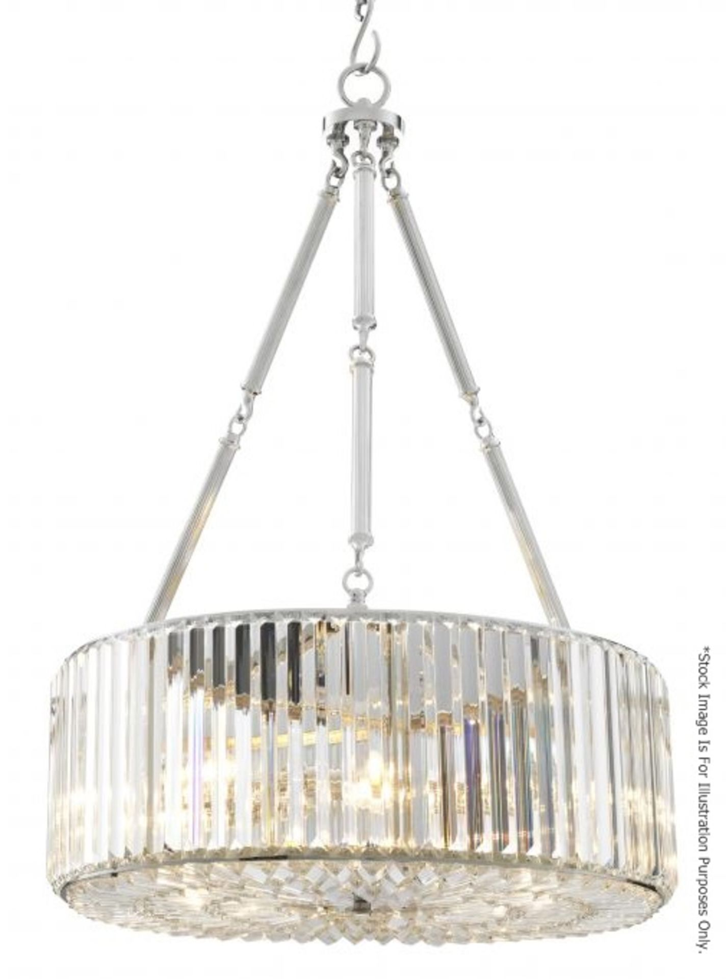 1 x EICHHOLTZ 'Infinity' Art Deco-style Chandelier Featuring Glass Crystal Rods - RRP £1,390