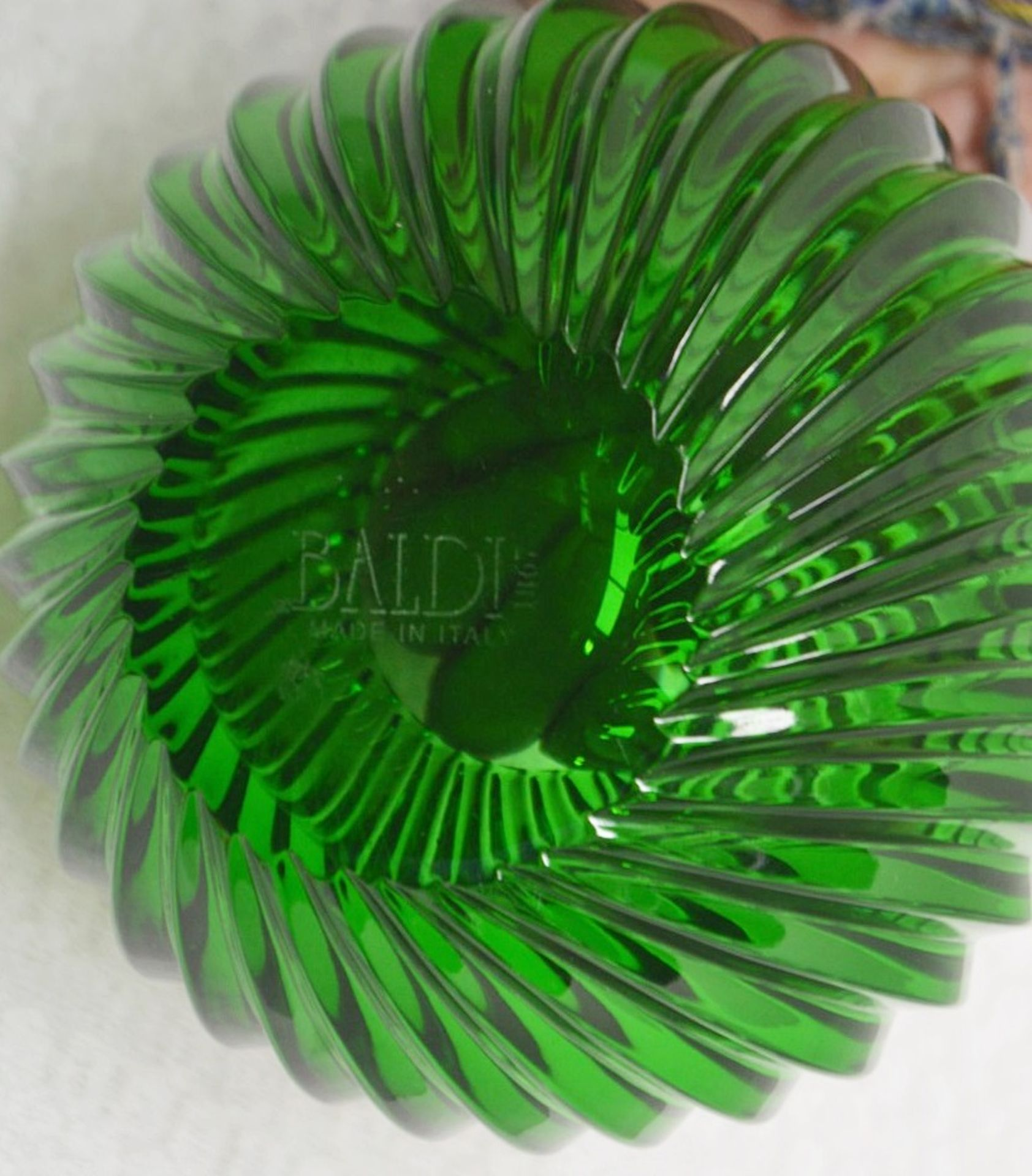 1 x BALDI 'Home Jewels' Italian Hand-crafted Artisan Crystal Bowl In Green - Dimensions: Height 10cm - Image 2 of 3