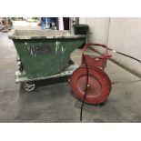 3 Pcs. Banding cart, dump hopper, and bubble wrap.