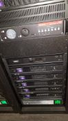 Componant Rack w/ Audio Components Including; (2) Dolby CP750 Digital Cinema Processors, (2) QSC DCM