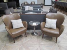 "(2) ISA International Leather Lounge Chairs w/ (2) Pillows & 17"" Dia. Accent Table"