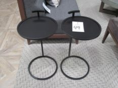 "(2) 14"" Dia. x 24"" High Bronze Finish Metal End/Accent Tables"