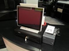 Aures POS Station, Yono-Base151-White-II w/ 2nd Screen, Partner 6E410 Cash Drawer, Epson TM-T20II Re