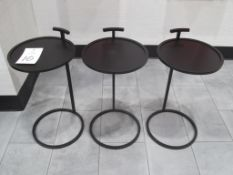 "(3) 14"" Dia. x 24"" High Bronze Finish Metal End/Accent Tables"