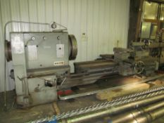 "Stanley 38""/60"" x 80"" Engine Lathe, S/N 3150, 13"" Spindle Hole, 4 to 350-RPM, with 26"" 4-Jaw Chuck,"