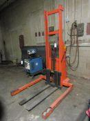 """Mobile Lift 12V Electric Walk-Behind Pallet Lift; Single Stage Mast, 42"""" Forks (Missing Battery)"""