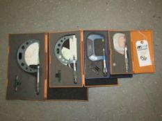 "Outside Blade Micrometers; (1) Mitutoyo 3-6"" (1) Mitutoyo 2-3"" (1) Fowler 1-2"" & (1) Mitutoyo 0-1"""