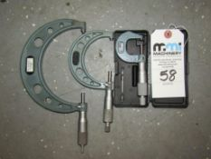 """Mitutoyo Outside Micrometers; (1) 3-4"""" (1) 2-3"""" & (1) 0-1"""""""