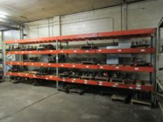 Sections of Adjustable Pallet Racking; (3) 8' x 3' Uprights, (16) 12' Crossbeams, Wood Decking (No C
