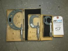 """Mitutoyo Outside Micrometers; (1) 3-4"""" (1) 1-2"""" & (1) 0-1"""""""