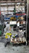 Rack of Assorted Welding Wire/Rod, Weld Gun, Leads and Misc.
