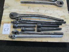 "1"" Drive Ratchet w/ Assorted Breaker Bars & Extensions"