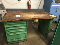 """Wood Top Work Bench, 60"""" x 30"""" 6-Drawer Work Bench with Misc. Content (Loc. Parts Room)"""