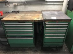 """Wood Top Work Bench, 60"""" x 30"""" 12-Drawer Work Bench with Misc. Content (Loc. Parts Room)"""