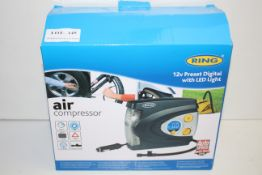 BOXED RING AIR COMPRESSOR 12V PRESET DIGITAL WITH LED LIGHT RRP £40.00Condition ReportAppraisal