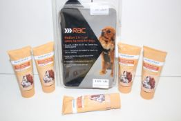 6X ASSORTED ITEMS TO INCLUDE RAC MEDIUM 2-IN-1 CAR SAFETY HARNESS FOR DOGS & OTHER (IMAGE DEPICTS