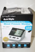 BOXED FULLY QAUTOMATIC ARM STYLE BLOOD PRESSURE MONITOR RRP £39.99Condition ReportAppraisal