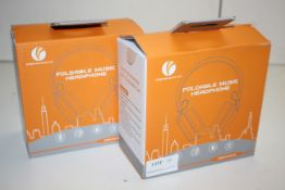 2X BOXED VCOM INTERNATIONAL FOLDABLE MUSIC HEADPHONES