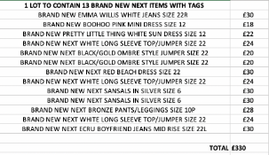 TOTAL RRP-£330.00 1 LOT TO CONTAIN 13 BRAND NEW NEXT ITEMS WITH TAGS (1010)Condition ReportAppraisal