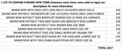 TOTAL RRP-£217.00 1 LOT TO CONTAIN 9 BRAND NEW NEXT CLOTHING ITEMS (However some items come with