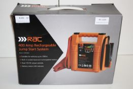 BOXED RAC 400AMP RECHARGEABLE JUMP START SYSTEM RRP £64.99Condition ReportAppraisal Available on