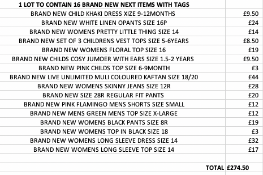 TOTAL RRP-£274.50 1 LOT TO CONTAIN 16 BRAND NEW NEXT ITEMS WITH TAGS (1014)Condition ReportAppraisal