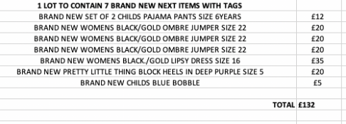 TOTAL RRP-£132.00 1 LOT TO CONTAIN 13 BRAND NEW NEXT ITEMS WITH TAGS SEE IMAGE (1016)Condition