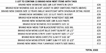 TOTAL RRP-£322.00 1 LOT TO CONTAIN 14 BRAND NEW NEXT ITEMS WITH TAGSCondition ReportAppraisal