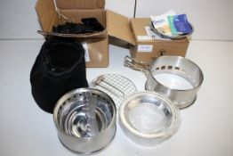 2X ASSORTED ITEMS TO INCLUDE BRACKETS & SOLIDIFIED ALCOHOL STOVE Condition ReportAppraisal Available