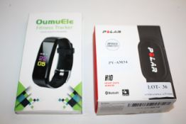 2X BOXED ASSORTED ITEMS TO INCLUDE POLAR H10 HEART RATE SENSOR & OUMUELE FITNESS TRACKER Condition