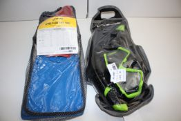 2X BAGGED ASSORTED ITEMS TO INCLUDE FINIS LONG FLOATING FINS & CRESSI SNORKEL & MASK SET Condition