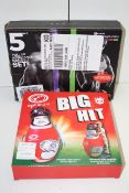 2X BOXED ASSORTED ITEMS TO INCLUDE RESISTANCE BANDS & BIG HIT RUGBY TRAINER Condition