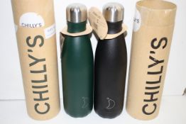 2X BOXED CHILLY'S LEAK PROOF VACUUM SEALED WATER BOTTLES COMBINED RRP £74.00Condition