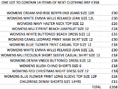 ONE LOT TO CONTAIN 14 ITEMS OF NEXT CLOTHING RRP £358 (1040)Condition ReportALL ITEMS ARE BRAND