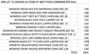 ONE LOT TO CONTAIN 12 ITEMS OF NEXT ITEMS COMBINED RRP £321 (1039)Condition ReportALL ITEMS ARE