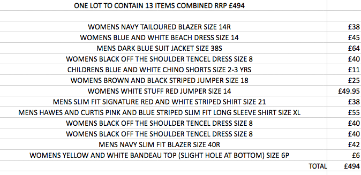 ONE LOT TO CONTAIN 13 ITEMS OF NEXT CLOTHING COMBINED RRP £494 (1037)Condition ReportALL ITEMS ARE