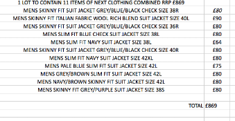 1 LOT TO CONTAIN 11 ITEMS OF NEXT CLOTHING COMBINED RRP £869 (1030)Condition ReportALL ITEMS ARE