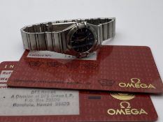 LADIES OMEGA CONSTELLATION, STAINLESS STEEL WITH BLACK DIAL, REF- 15624000, INCLUDES CARDS