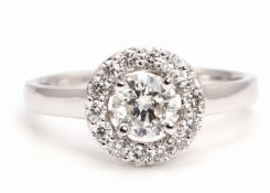 18ct White Gold Single Stone With Halo Setting Ring (0.58) 0.86 Carats - Valued by GIE £10,925.