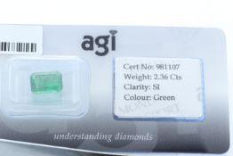 Loose Emerald Cut Emerald 2.36 Carats - Valued by AGI £7,080.00 - Loose Emerald Cut Emerald 2.36