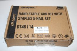 BOXED HI-SPEC HAND STAPLE GUN KIT WITH STAPLES & NAILSET RRP £24.99Condition ReportAppraisal