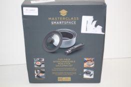 BOXED MASTERCLASS SMARTSPACE FIVE-PIECE INTERCHANGEABLE NON-STICK SAUCEPAN SET RRP £54.99Condition