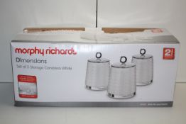 BOXED MORPHY RICHARDS DIMENSIONS SET OF 3 STORAGE CANISTERS WHITE RRP £23.49Condition
