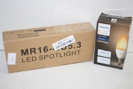 2X ASSORTED BOXERD LIGHTS TO INCLUDE PHILIPS HUE & OTHER (IMAGE DEPICTS STOCK)Condition