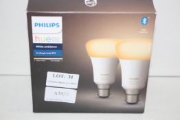 BOXED PHILIPS HUE PERSONAL WIRELESS LIGHTING WHITE AMBIANCE 2X SINGLE BULB B22Condition