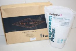 2X ASSORTED ITEMS TO INCLUDE BETTER YOU MINERAL BATH FLAKES & KING C GILLETTE BEARD TRIMMING KIT
