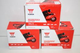 3X BOXED YUASA MOTORCYCLE & POWERSPORT BATTERY 12N5.5-4A COMBINED RRP £86.85Condition