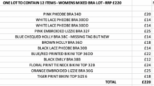 ONE LOT TO CONTAIN 12 ITEMS - WOMENS MIXED BRA LOT - RRP £220 (2001)